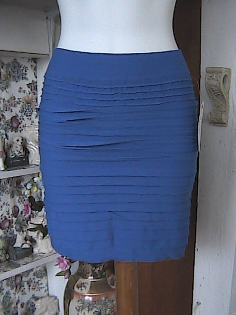 Lotus Seamless Fitted Pencil Mini Skirt Blue