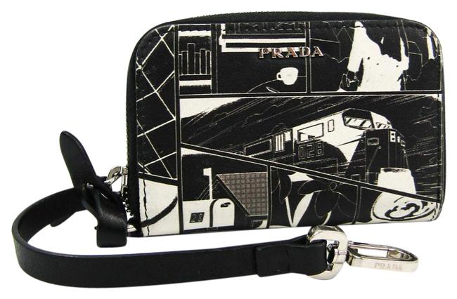 Item - Black / White Comic Print with Key Ring Leather Card Case Wallet