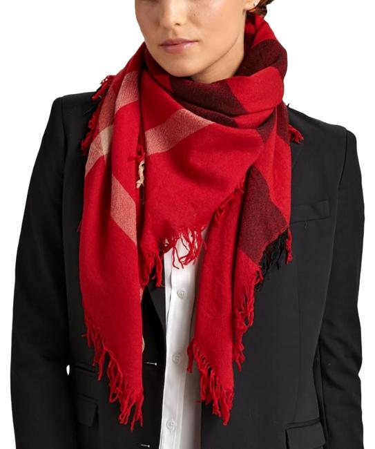 Item - Parade Red Color Check Wool Square Scarf/Wrap