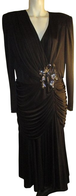 Item - Black Slinky Knit Long Sleeve Dancing Queen. Mid-length Cocktail Dress Size 14 (L)