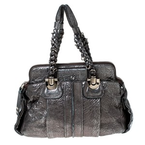 Chloé Fabric Leather Satchel in Silver