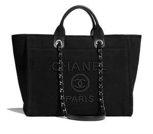 Chanel Deauville Canva Tote in Black
