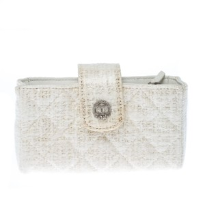 Chanel Chanel White Quilted Coated Tweed iPhone Pouch