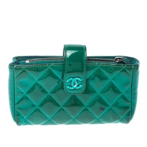 Chanel Chanel Green Quilted Patent Leather iPhone Pouch