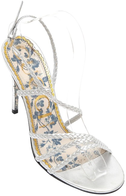 Item - Silver Metallic Leather Haines Strappy Floral Sandals Size EU 38 (Approx. US 8) Regular (M, B)