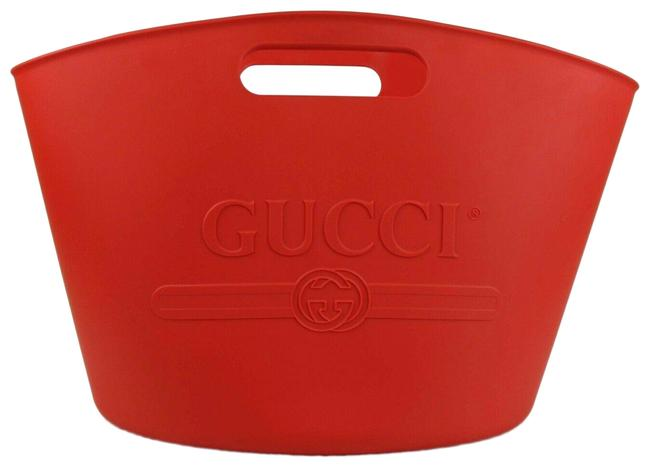 Item - Large Shop Tote with Logo 511261 6422 Red Rubber Beach Bag