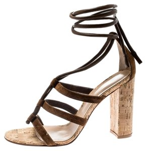 Gianvito Rossi Leather Suede Brown Sandals