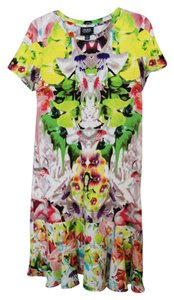 Prabal Gurung for Target short dress Multicolor Tropical Botanical Print Print Abstract Print Neon Bright Summer Orchid Designer T-shirt Short Sleeve Flounce Hem on Tradesy