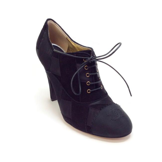 Item - Black Patchwork Lace Up Boots/Booties Size EU 38 (Approx. US 8) Regular (M, B)