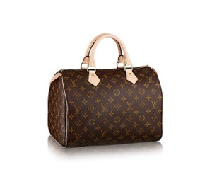 Louis Vuitton Lv Speedy 35 White Canvas Tote in brown