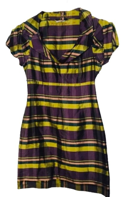 Item - Multi-colored Sample Flannel Cap Sleeved Plaid Short Casual Dress Size 2 (XS)