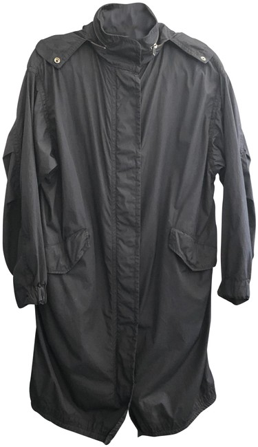 Item - Black Lightweight Cotton Zip & Snap Front Hooded Long Jacket Size 2 (XS)