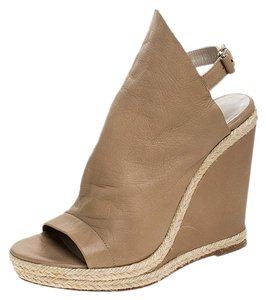Balenciaga Espadrilles Leather Wedges Platform Beige Sandals