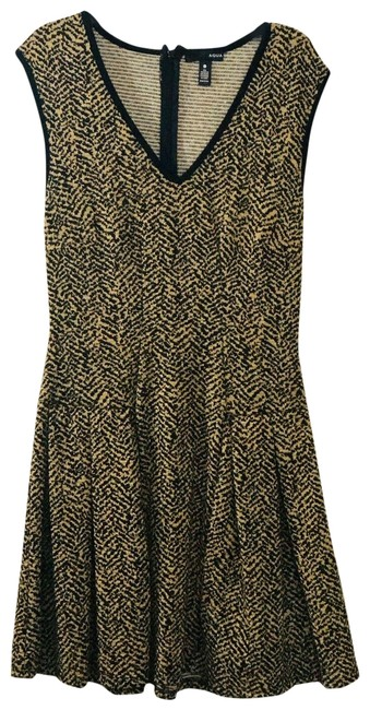 Item - Gold and Black Metallic Fit Short Night Out Dress Size 12 (L)