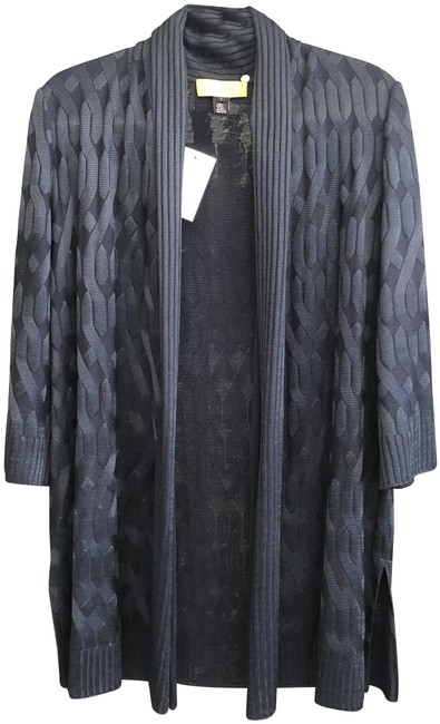 Item - Navy Blue Open Front 3/4 Sleeve Cable Knit Cardigan Size 4 (S)