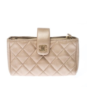 Chanel Beige Quilted Leather iPhone Pouch