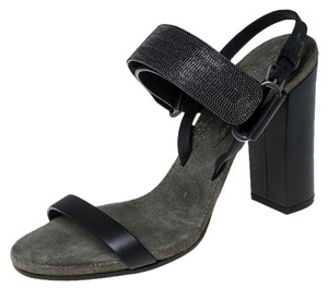 Brunello Cucinelli Leather Detail Ankle Strap Black Sandals