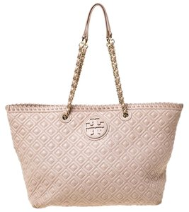 Tory Burch Leather Quilted Tote in Beige
