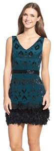 Nicole Miller Beads Feathers Dress
