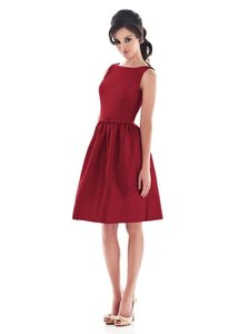 Alfred Sung Barcelona (Deep Red) Taffeta D488 Bateau Cocktail Length Party Retro Bridesmaid/Mob Dress Size 4 (S)