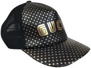 Gucci Gucci Black Leather Guccy Saga Stars Baseball Hat Cap SZ L #27452