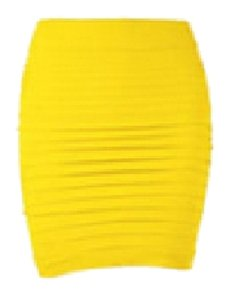 Lotus Seamless Stretch Pencil Mini Mini Skirt Yellow