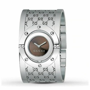 Gucci Gucci Watch Twirl Stainless Steel Brown Dial Bangle Cuff YA112401