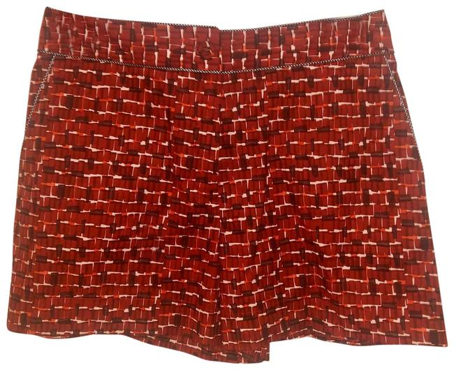 Item - Red/Brown Overlap Micro Square Print Shorts Size 2 (XS, 26)