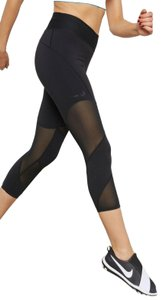 Nike Nike Drifit Power Fly Mesh Black Running Capri Leggings