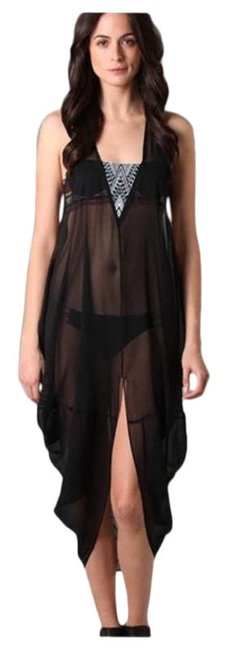 Item - Black Embroidered Dashiki Silk Cover-up/Sarong Size OS (one size)
