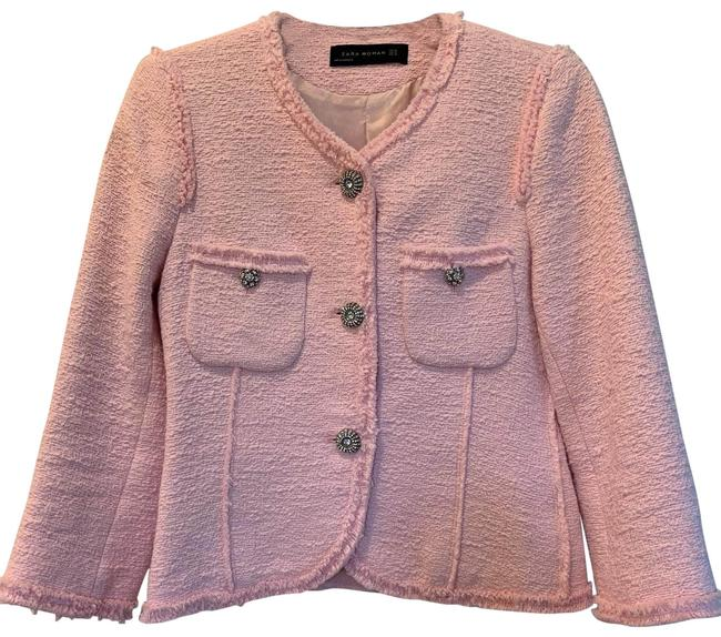 Item - Pink Tweed Jacket with Removable Cuffs Blazer Size 2 (XS)