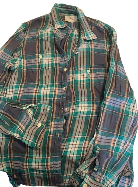 Item - Plaid Blue and Green Flannel Button-down Top Size 8 (M)
