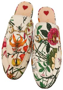 Gucci Loafers Princetown Slipper Flora Princetwon White Mult Mules
