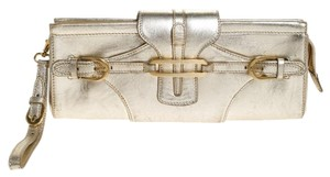 Jimmy Choo Leather Suede Metallic Gold Clutch