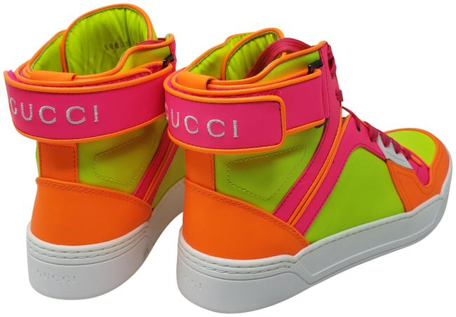 Item - Pink Neon Yellow Matte Leather Logo Printed High-top Sneakers Size EU 39.5 (Approx. US 9.5) Regular (M, B)