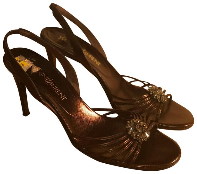 Item - Brown/ Metallic Jewel Sandal Formal Shoes Size US 8.5 Regular (M, B)