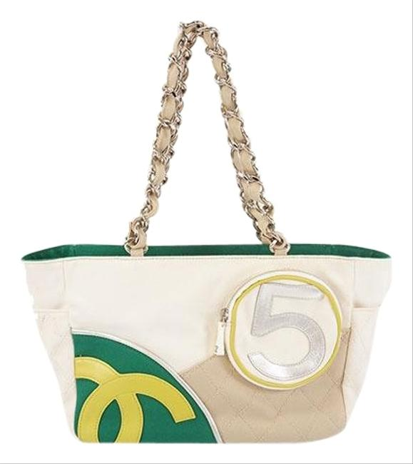 Item - No.5 Chain Tote Women's Tote Green / Ivory Canvas Shoulder Bag