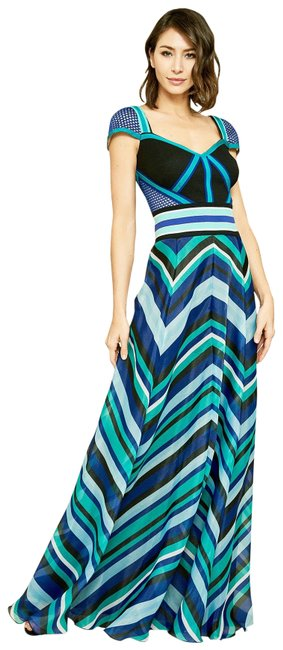 Item - Multicolor Evert Cap-sleeve Striped Organza Gown Long Cocktail Dress Size 12 (L)