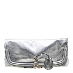 Alexander McQueen Leather Studded Silver Clutch