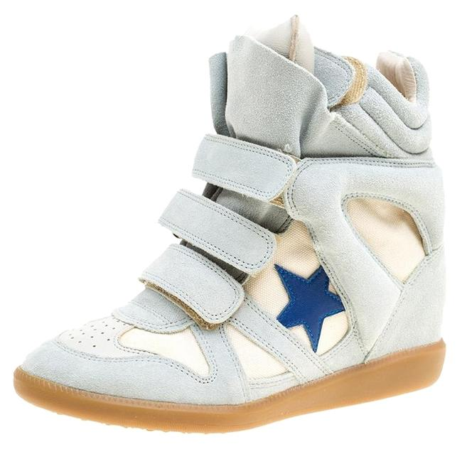 Item - Grey Grey/Beige Suede and Canvas Bayley Star Wedge 37 Sneakers Size US 6.5 Regular (M, B)