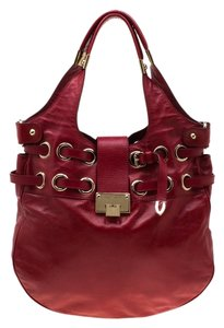 Jimmy Choo Leather Riki Tote in Red