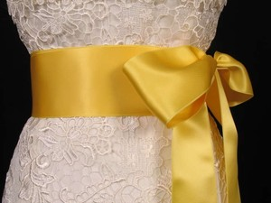 Lemon Yellow Ribbon Sash 2 3/4