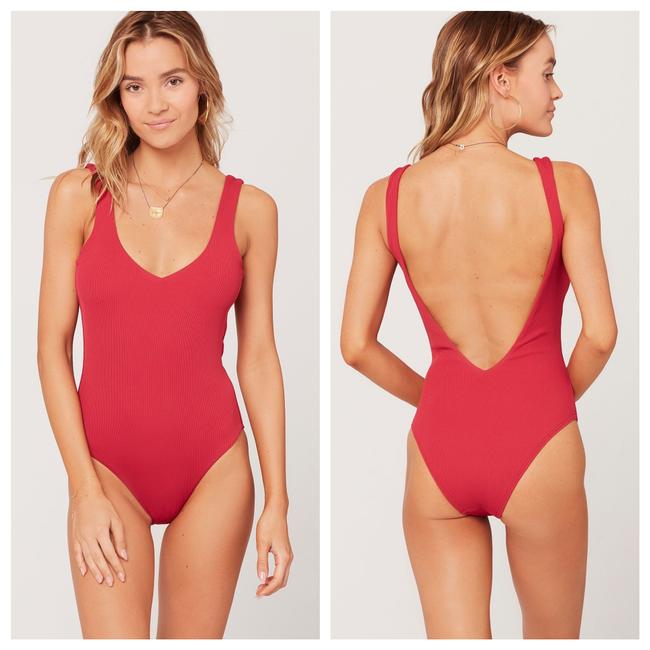 Item - Red Arizona Ribbed In Strawberry One-piece Bathing Suit Size 12 (L)