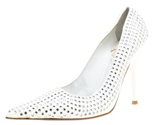 Baldinini Patent Leather Crystal Embellished Pointed Toe White Pumps
