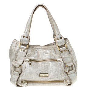 Jimmy Choo Suede Leather Satchel in Gold