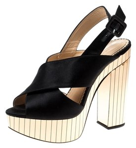 Charlotte Olympia Satin Cross Strap Platform Black Sandals