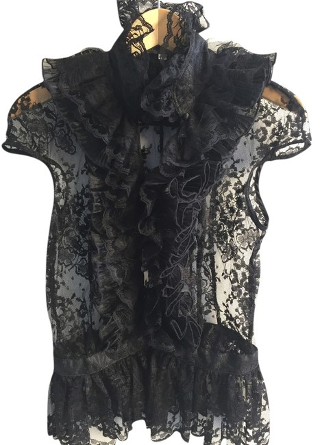 Louis Verdad Lace Covered Buttons Top Black