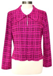 Ming Wang Paillettes Plaid Knit Dressy Career Hot Pink and Black Blazer