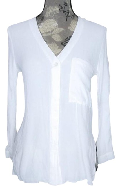 Item - White Button Up Blouse Collarless Button-down Top Size 8 (M)
