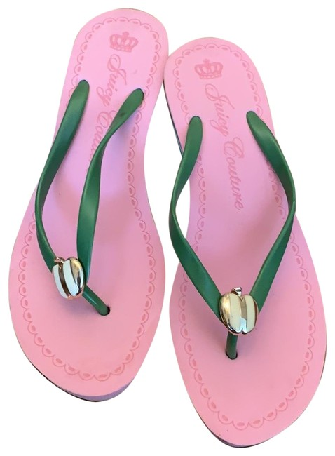 Item - Pink and Green Wedges Size US 10 Regular (M, B)